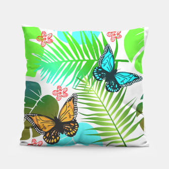 Thumbnail image of Tropical Butterflies Leaf Design Pillow, Live Heroes