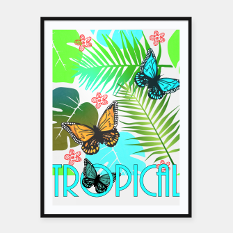 Thumbnail image of Tropical Butterflies Leaf Design Framed poster, Live Heroes