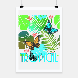 Thumbnail image of Tropical Butterflies Leaf Design Poster, Live Heroes