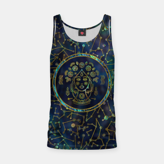 Thumbnail image of Virgo Zodiac Gold Abalone on Constellation Tank Top, Live Heroes