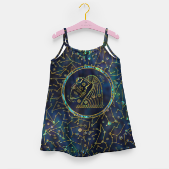 Thumbnail image of Aquarius Zodiac Gold Abalone on Constellation Girl's dress, Live Heroes