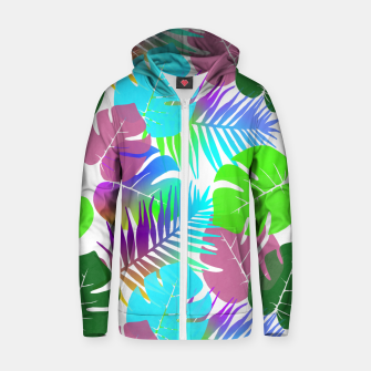 Thumbnail image of Tropical Summer Leaf Design Cotton zip up hoodie, Live Heroes