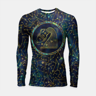 Thumbnail image of Aquarius Zodiac Gold Abalone on Constellation Longsleeve rashguard , Live Heroes