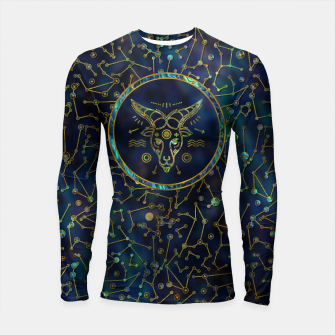 Thumbnail image of Capricorn Zodiac Gold Abalone on Constellation Longsleeve rashguard , Live Heroes