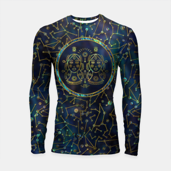 Thumbnail image of Gemini Zodiac Gold Abalone on Constellation Longsleeve rashguard , Live Heroes