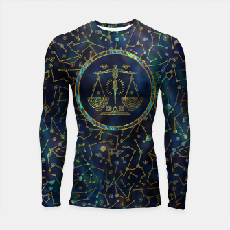 Thumbnail image of Libra Zodiac Gold Abalone on Constellation Longsleeve rashguard , Live Heroes