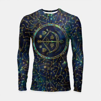 Thumbnail image of Sagittarius Zodiac Gold Abalone on Constellation Longsleeve rashguard , Live Heroes
