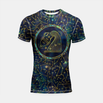 Thumbnail image of Aquarius Zodiac Gold Abalone on Constellation Shortsleeve rashguard, Live Heroes