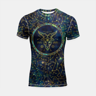 Thumbnail image of Capricorn Zodiac Gold Abalone on Constellation Shortsleeve rashguard, Live Heroes
