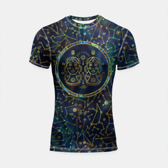Thumbnail image of Gemini Zodiac Gold Abalone on Constellation Shortsleeve rashguard, Live Heroes