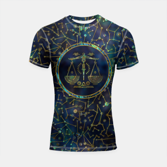 Thumbnail image of Libra Zodiac Gold Abalone on Constellation Shortsleeve rashguard, Live Heroes