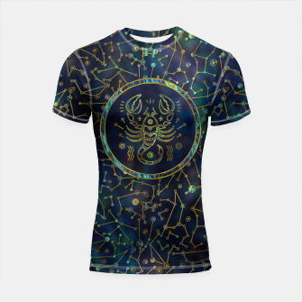 Thumbnail image of Scorpio Zodiac Gold Abalone on Constellation Shortsleeve rashguard, Live Heroes