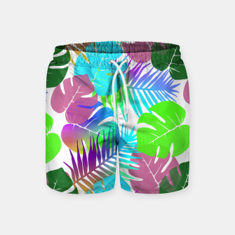 Thumbnail image of Tropical Summer Leaf Design Swim Shorts, Live Heroes