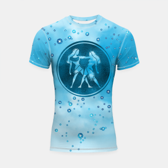 Thumbnail image of Gemini Zodiac Sign Air Element Shortsleeve rashguard, Live Heroes