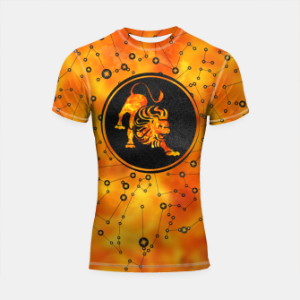 Thumbnail image of Leo Zodiac Fire element Shortsleeve rashguard, Live Heroes