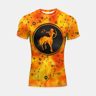 Thumbnail image of Sagittarius Zodiac Sign Fire element Shortsleeve rashguard, Live Heroes