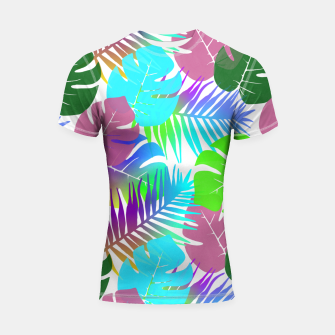 Thumbnail image of Tropical Summer Leaf Design Shortsleeve rashguard, Live Heroes