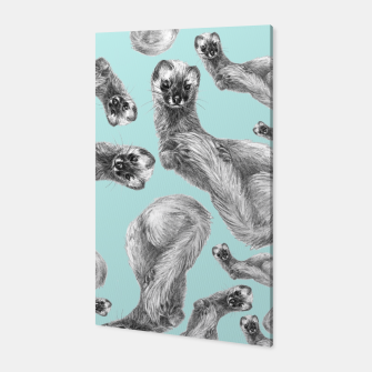 Siberian weasel turquoise pattern Canvas thumbnail image