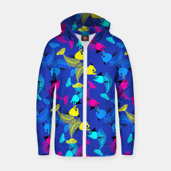 Miniaturka Fishes Love in Blue Cotton zip up hoodie, Live Heroes