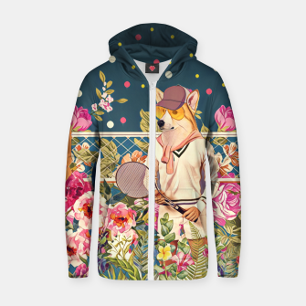 Thumbnail image of Corgi tennis Cotton zip up hoodie, Live Heroes
