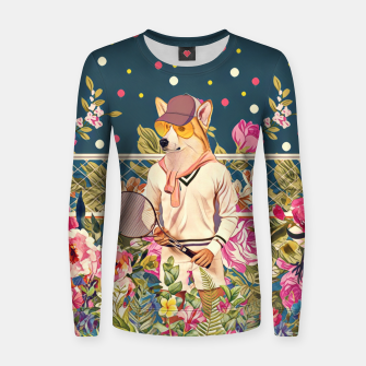 Thumbnail image of Corgi tennis Woman cotton sweater, Live Heroes