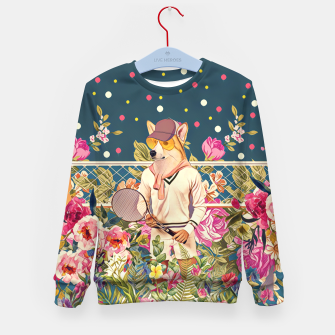 Thumbnail image of Corgi tennis Kid's sweater, Live Heroes