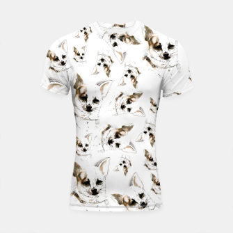 Thumbnail image of Chihuahua watercolor pattern Shortsleeve rashguard, Live Heroes