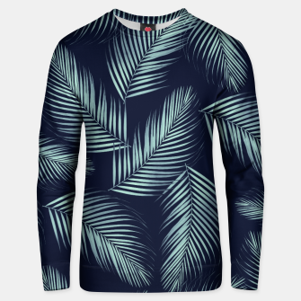 Thumbnail image of Palm Leaves Pattern - Navy Blue Mint Cali Vibes #1 #tropical #decor #art Baumwoll sweatshirt, Live Heroes