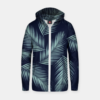 Thumbnail image of Palm Leaves Pattern - Navy Blue Mint Cali Vibes #1 #tropical #decor #art Baumwoll reißverschluss kapuzenpullover, Live Heroes