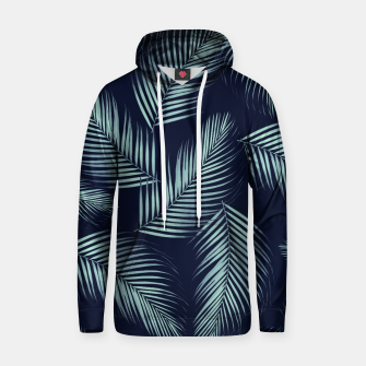 Thumbnail image of Palm Leaves Pattern - Navy Blue Mint Cali Vibes #1 #tropical #decor #art Baumwoll Kapuzenpullover, Live Heroes