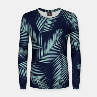 Thumbnail image of Palm Leaves Pattern - Navy Blue Mint Cali Vibes #1 #tropical #decor #art Frauen baumwoll sweatshirt, Live Heroes