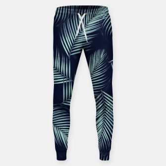Thumbnail image of Palm Leaves Pattern - Navy Blue Mint Cali Vibes #1 #tropical #decor #art Baumwoll hosen, Live Heroes