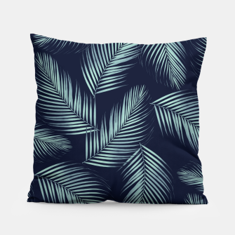 Thumbnail image of Palm Leaves Pattern - Navy Blue Mint Cali Vibes #1 #tropical #decor #art Kissen, Live Heroes