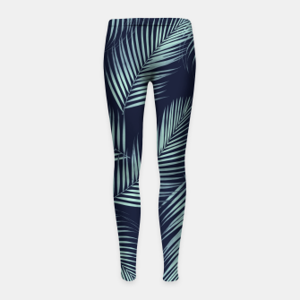 Thumbnail image of Palm Leaves Pattern - Navy Blue Mint Cali Vibes #1 #tropical #decor #art Kinder-Leggins, Live Heroes
