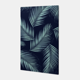 Thumbnail image of Palm Leaves Pattern - Navy Blue Mint Cali Vibes #1 #tropical #decor #art Canvas, Live Heroes