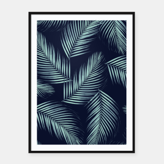 Thumbnail image of Palm Leaves Pattern - Navy Blue Mint Cali Vibes #1 #tropical #decor #art Plakat mit rahmen, Live Heroes
