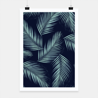 Thumbnail image of Palm Leaves Pattern - Navy Blue Mint Cali Vibes #1 #tropical #decor #art Plakat, Live Heroes