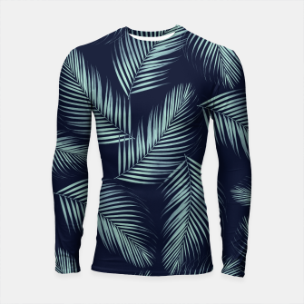 Thumbnail image of Palm Leaves Pattern - Navy Blue Mint Cali Vibes #1 #tropical #decor #art Longsleeve rashguard, Live Heroes