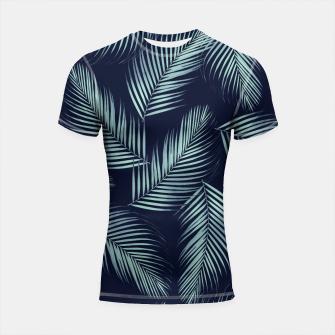 Thumbnail image of Palm Leaves Pattern - Navy Blue Mint Cali Vibes #1 #tropical #decor #art Shortsleeve rashguard, Live Heroes