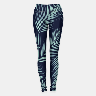 Thumbnail image of Palm Leaves Pattern - Navy Blue Mint Cali Vibes #1 #tropical #decor #art Leggings, Live Heroes