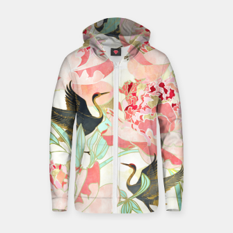 Thumbnail image of Floral Cranes Cotton zip up hoodie, Live Heroes