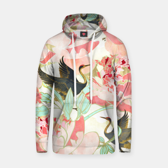 Thumbnail image of Floral Cranes Cotton hoodie, Live Heroes