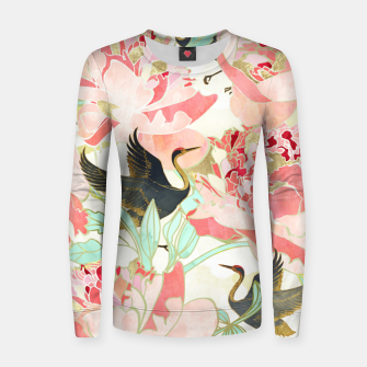 Thumbnail image of Floral Cranes Woman cotton sweater, Live Heroes