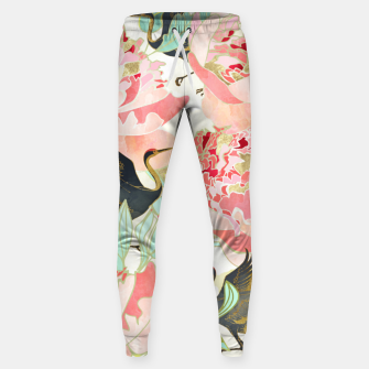 Thumbnail image of Floral Cranes Cotton sweatpants, Live Heroes