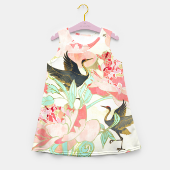 Thumbnail image of Floral Cranes Girl's summer dress, Live Heroes