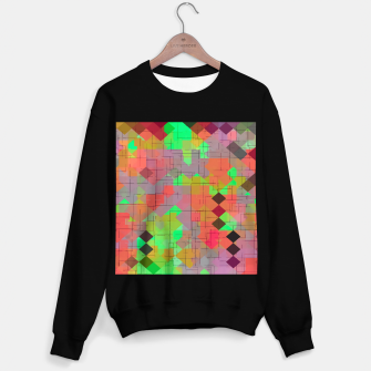 Thumbnail image of geometric square pixel pattern abstract in green orange red Sweater regular, Live Heroes