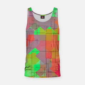 Thumbnail image of geometric square pixel pattern abstract in green orange red Tank Top, Live Heroes