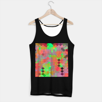 Thumbnail image of geometric square pixel pattern abstract in green orange red Tank Top regular, Live Heroes