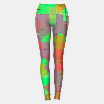 Thumbnail image of geometric square pixel pattern abstract in green orange red Leggings, Live Heroes