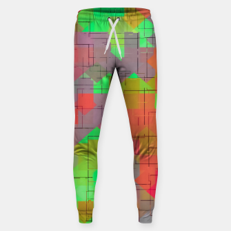 Thumbnail image of geometric square pixel pattern abstract in green orange red Cotton sweatpants, Live Heroes